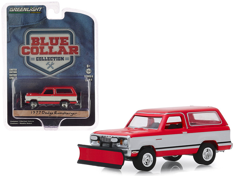 1977 Dodge Ramcharger with Snow Plow Red White Blue Collar Collection Series 6 1/64 Diecast Model Car Greenlight 35140 C