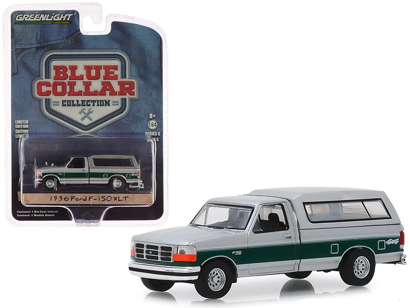 1996 Ford F-150 XLT Pickup Truck Camper Shell Silver Green Stripe Blue Collar Collection Series 6 1/64 Diecast Model Car Greenlight 35140 E