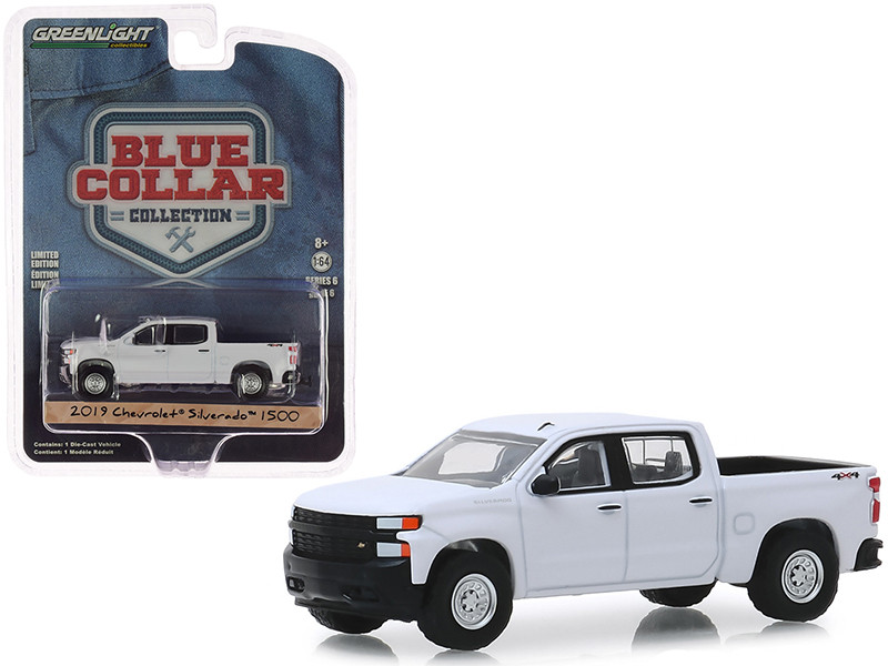 2019 Chevrolet Silverado 1500 Pickup Truck White Blue Collar Collection Series 6 1/64 Diecast Model Car Greenlight 35140 F