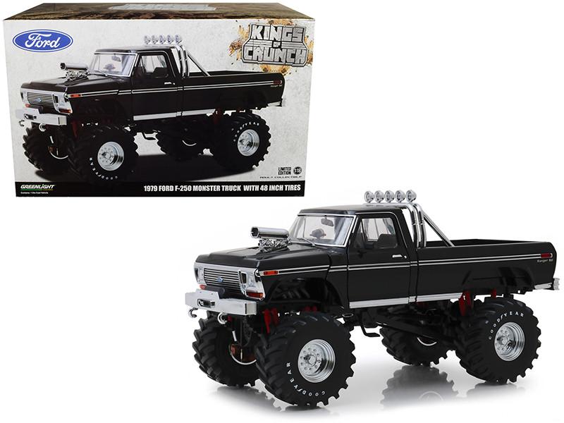 1979 Ford F-250 Ranger XLT Monster Truck Black 48-Inch Tires Kings of Crunch 1/18 Diecast Model Car Greenlight 13538