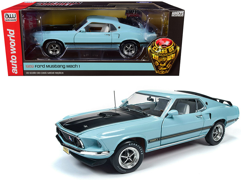 1969 Ford Mustang Mach 1 Aztec Aqua Light Blue Black Hood Class of 1969 Limited Edition 1/18 Diecast Model Car Autoworld AMM1181