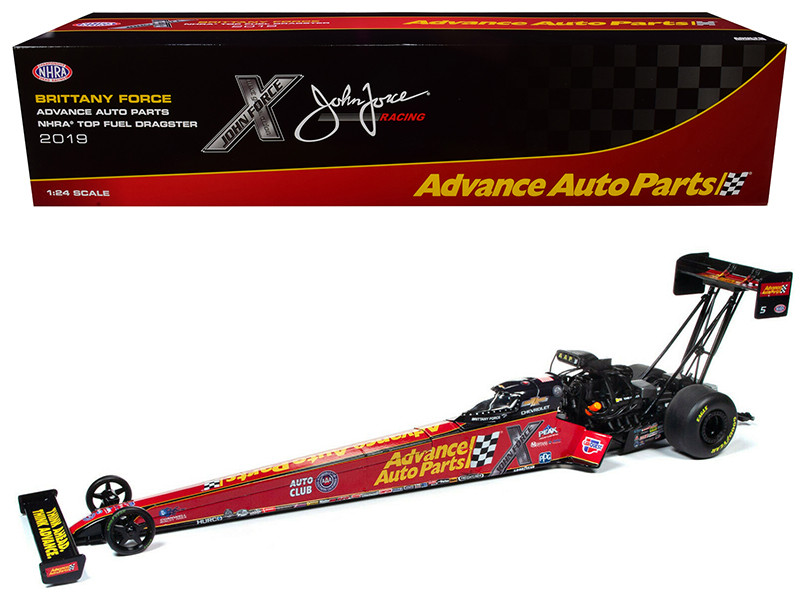 2019 Top Fuel Dragster TFD NHRA Brittany Force Advance Auto Parts John Force Racing 1/24 Diecast Model Car Autoworld CP7573