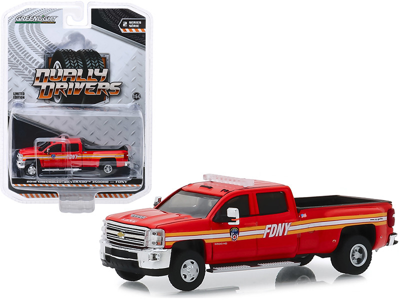 2018 Chevrolet Silverado 3500 Pickup Truck The Official Fire Department City of New York FDNY Dually Drivers Series 2 1/64 Diecast Model Car Greenlight 46020 A