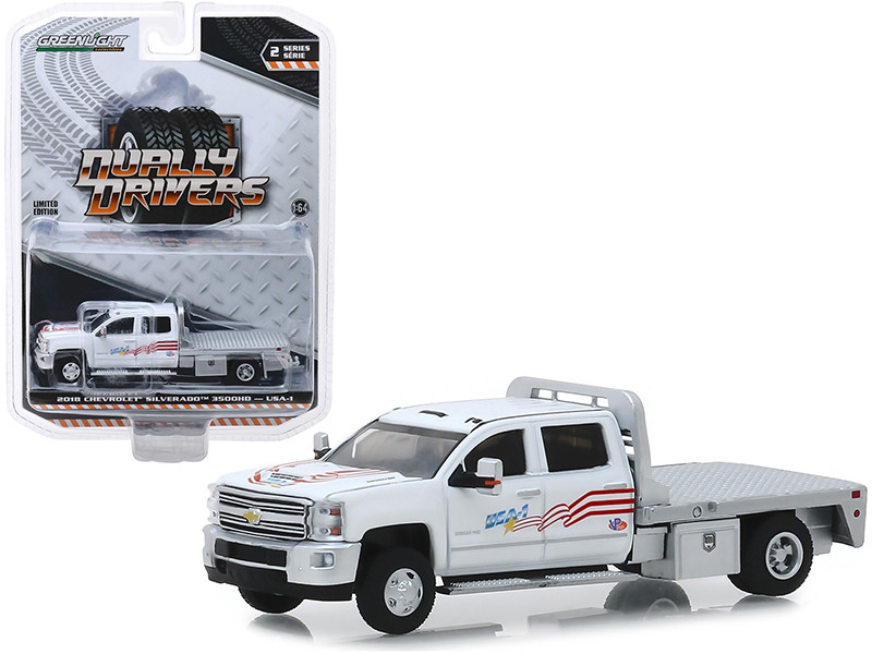 2018 Chevrolet Silverado 3500 Flatbed Truck USA-1 White Dually Drivers Series 2 1/64 Diecast Model Car Greenlight 46020 B