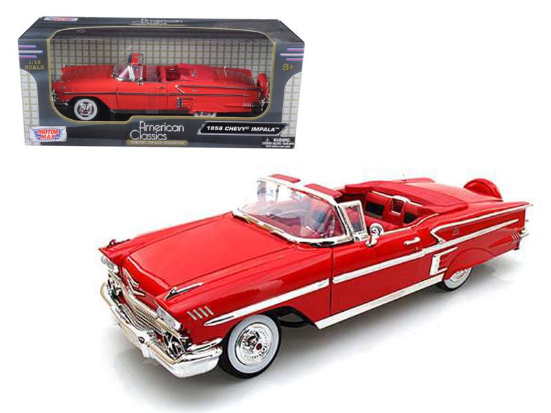 1958 Chevrolet Impala Red 1/18 Diecast Car Model Motormax 73112