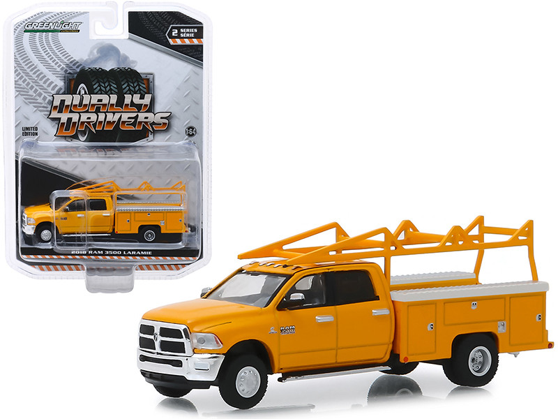 2018 Ram 3500 Laramie Service Bed Truck Ladder Rack Yellow Dually Drivers Series 2 1/64 Diecast Model Car Greenlight 46020 C