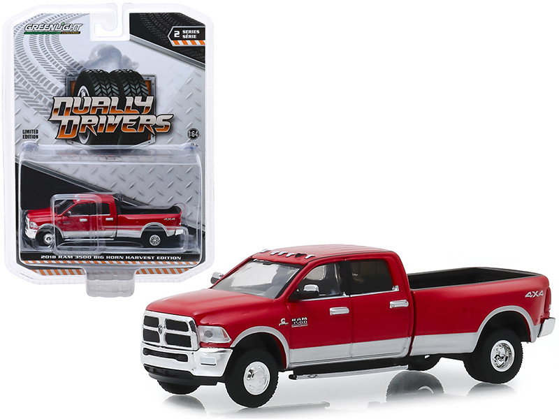 2018 Dodge Ram 3500 4x4 Big Horn Pickup Truck Harvest Edition Red Dually Drivers Series 2 1/64 Diecast Model Car Greenlight 46020 D