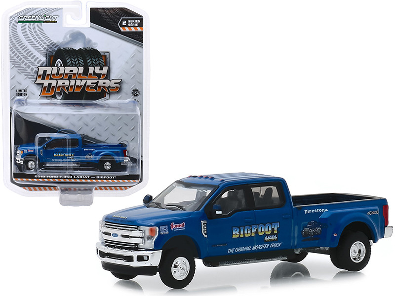 2019 Ford F-350 Lariat Pickup Truck Bigfoot #1 The Original Monster Truck Blue Dually Drivers Series 2 1/64 Diecast Model Car Greenlight 46020 E