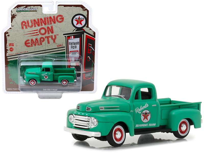 1948 Ford F1 Pickup Truck Texaco Matt Green Running on Empty Release 1 1/43 Diecast Model Car Greenlight 87010 A