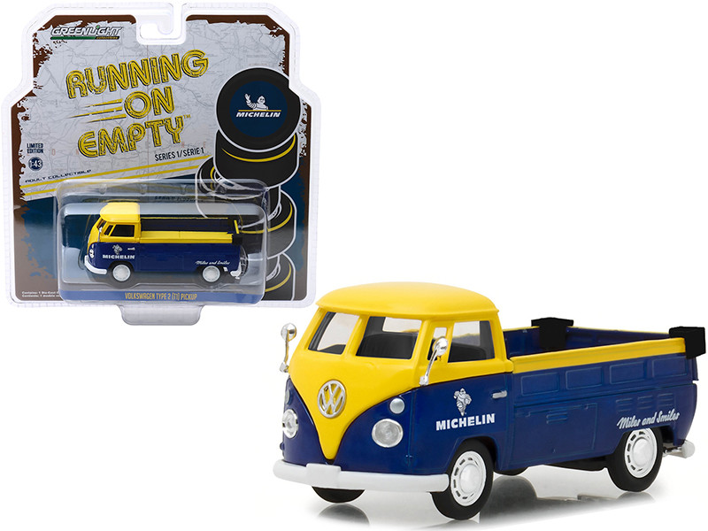 Volkswagen Type 2 T1 Pickup Truck Michelin Tires Yellow Dark Blue Running on Empty Release 1 1/43 Diecast Model Car Greenlight 87010 E