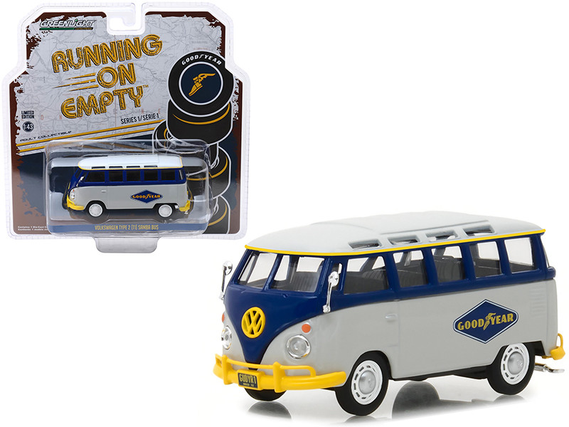 Volkswagen Type 2 T1 Samba Bus Goodyear Tires Gray Blue Running on Empty Release 1 1/43 Diecast Model Car Greenlight 87010 F
