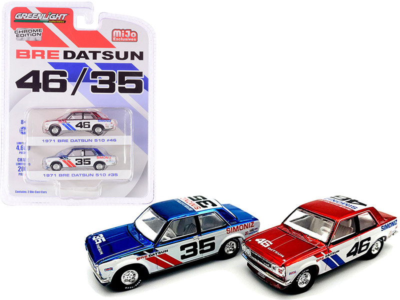 1971 BRE Datsun 510 #46 Red 1971 BRE Datsun 510 #35 Blue Chrome Edition Set of 2 Cars Limited Edition 4600 pieces Worldwide 1/64 Diecast Model Cars Greenlight 51230