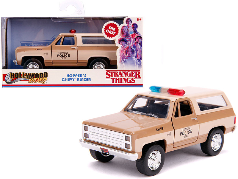 Hopper's Chevrolet Blazer Hawkins Police Dept Stranger Things 2016 TV Series Hollywood Rides 1/32 Diecast Model Car Jada 31114