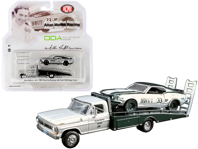 Ford F-350 Ramp Truck Metallic Silver 1969 Ford Mustang Trans Am #33 Brut Metallic Silver Metallic Green Allan Moffat's DDA Collectibles Series ACME Exclusive 1/64 Diecast Model Cars Greenlight ACME 51271