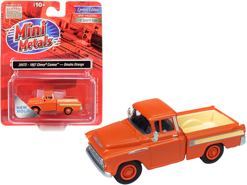1957 Chevrolet Cameo Pickup Truck Omaha Orange 1/87 HO Scale Model Car Classic Metal Works 30572