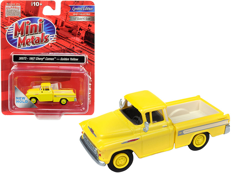 1957 Chevrolet Cameo Pickup Truck Golden Yellow 1/87 HO Scale Model Car Classic Metal Works 30573
