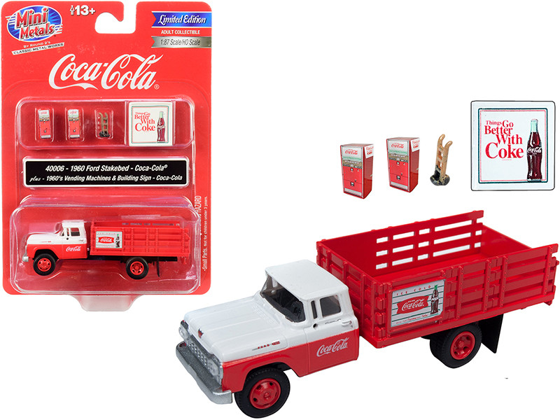 1960 Ford Stake Bed Truck Coca Cola Red White Two 1960's Vending Machines Hand Truck Building Sign Coca Cola 1/87 HO Scale Model Classic Metal Works 40006