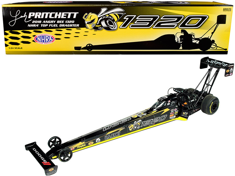 2018 Funny Car NHRA Leah Pritchett TFD Top Fuel Dragster Angry Bee 1320 1/24 Diecast Model Car Autoworld CP7552