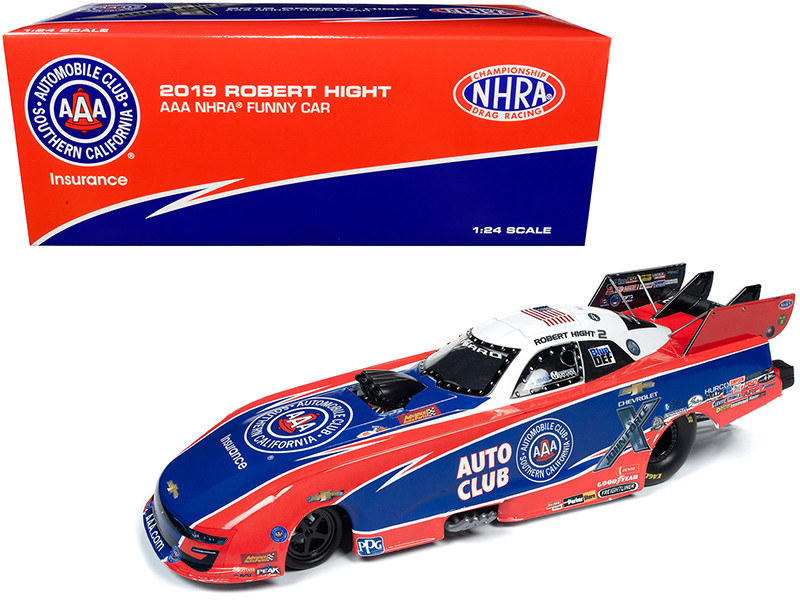 2019 NHRA Funny Car Robert Hight AAA John Force Racing 1/24 Diecast Model Car Autoworld CP7574