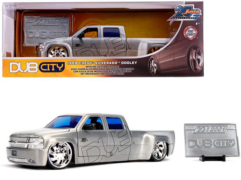 1999 Chevrolet Silverado Dooley Pickup Truck Raw Metal Dub City Jada 20th Anniversary 1/24 Diecast Model Car Jada 31077