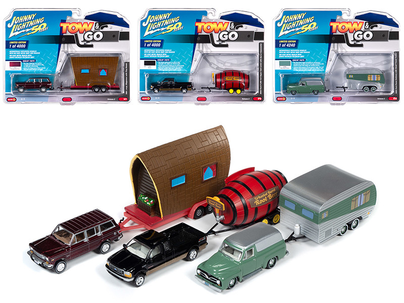 Tow & Go Series 2 Set B of 3 Cars Johnny Lightning 50 Years 1/64 Diecast Model Cars Johnny Lightning JLTG002 B