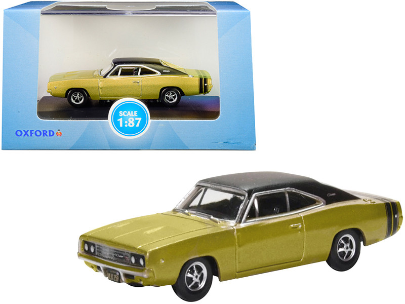 1968 Dodge Charger Gold Black Top Black Stripes 1/87 HO Scale Diecast Model Car Oxford Diecast 87DC68002