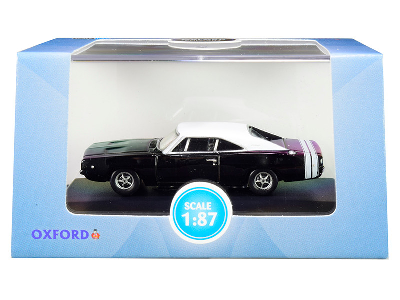 1968 Dodge Charger Black White Top White Stripes 1/87 HO Scale Diecast Model Car Oxford Diecast 87DC68003
