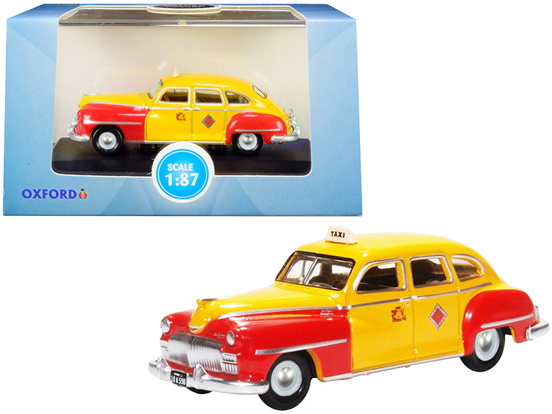 1946 1948 DeSoto Suburban Yellow Red San Francisco Taxi The Godfather Movie 1/87 HO Scale Diecast Model Car Oxford Diecast 87DS46002