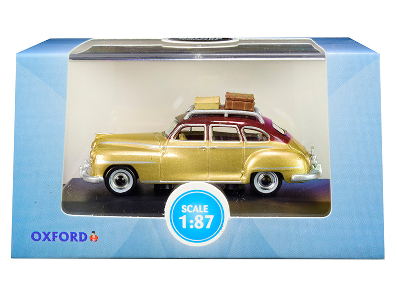 1946 DeSoto Suburban Roof Rack Luggage Trumpet Gold Rhythm Brown Top 1/87 HO Scale Diecast Model Car Oxford Diecast 87DS46003