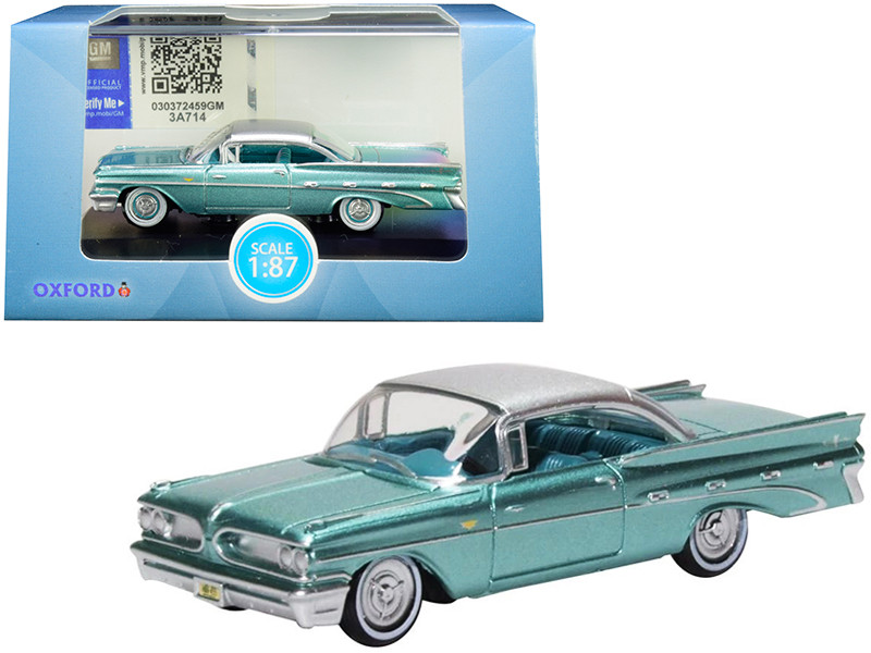 1959 Pontiac Bonneville Coupe Seaspray Green Silver Top 1/87 HO Scale Diecast Model Car Oxford Diecast 87PB59003