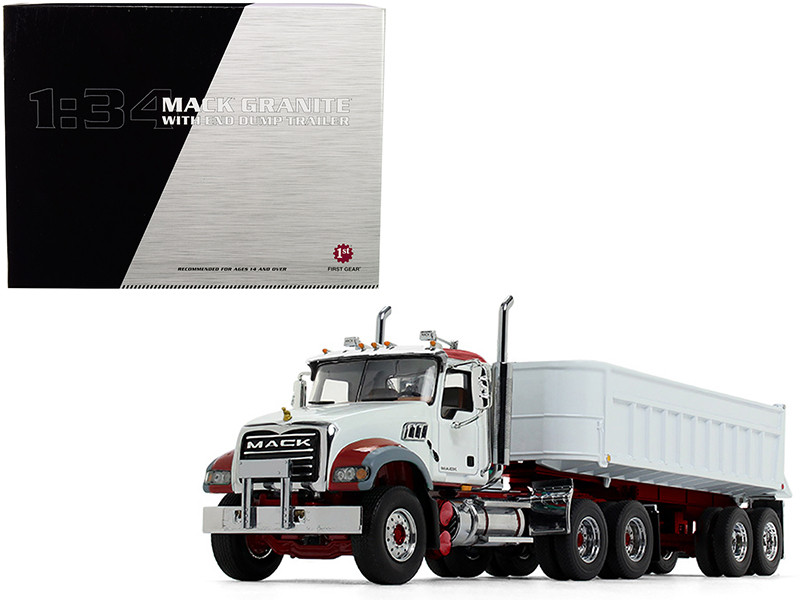 Mack Granite MP End Dump Trailer White 1/34 Diecast Model First Gear 10-4186