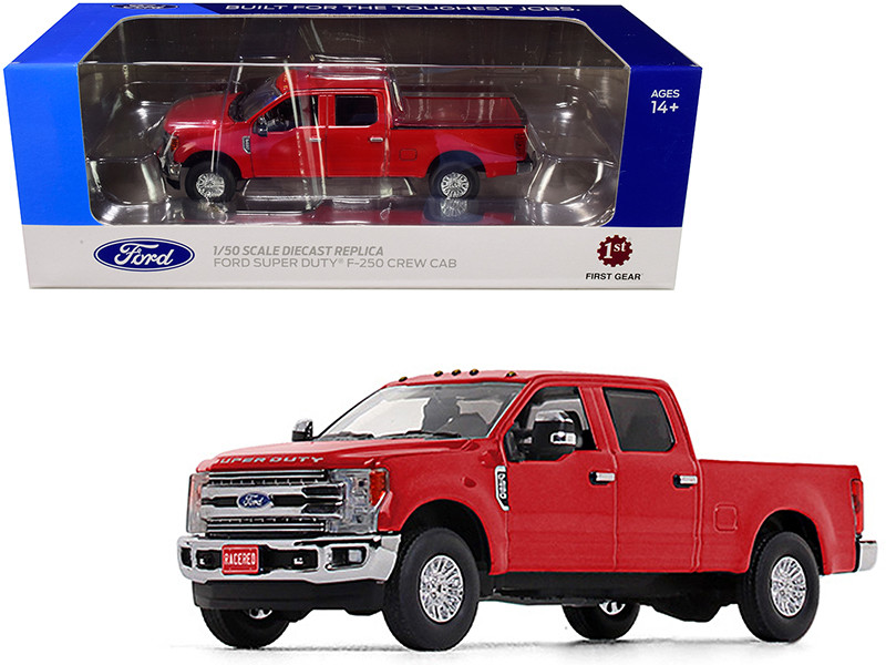 Ford F-250 Crew Cab Super Duty Pickup Truck Race Red 1/50 Diecast Model Car First Gear 50-3419