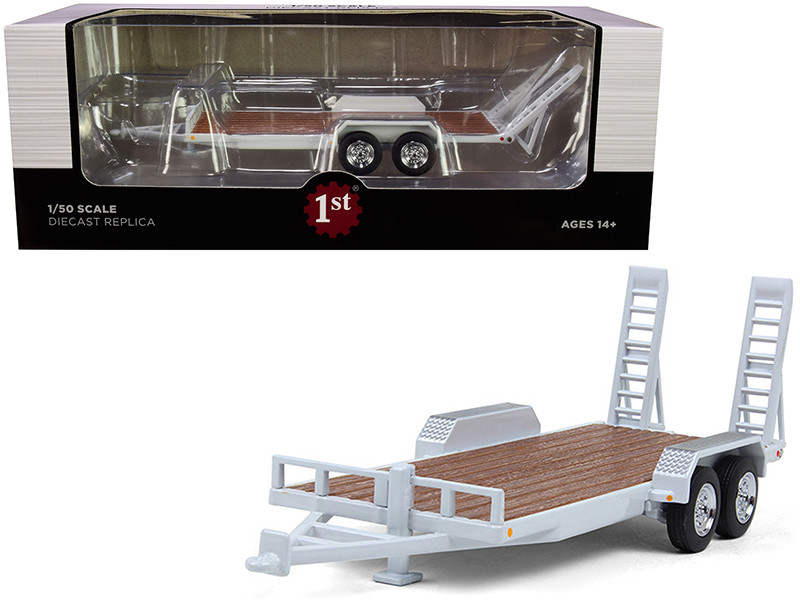 Tandem Axle Tag Trailer Oxford White 1/50 Diecast Model First Gear 50-3422