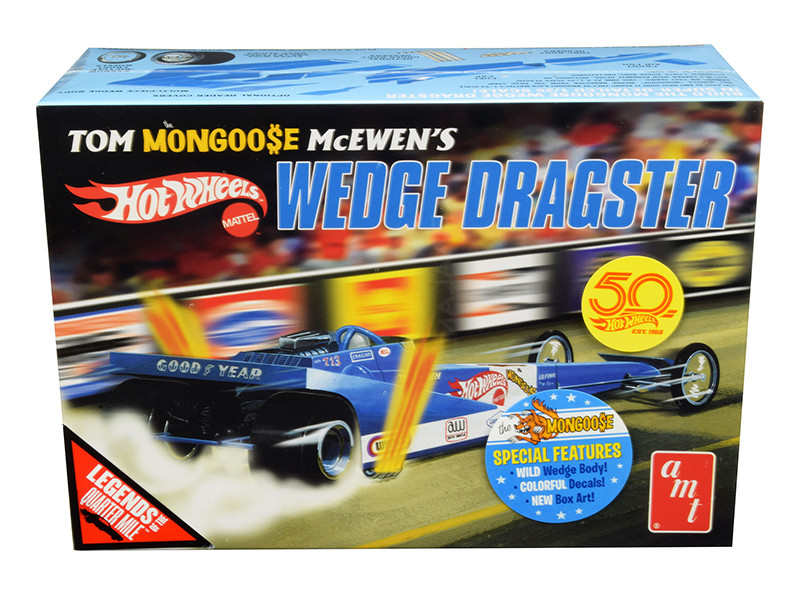 Skill 3 Model Kit Tom Mongoose McEwen's Wedge Dragster Hot Wheels 50th Anniversary Legends of the Quarter Mile 1/25 Scale Model AMT AMT1069