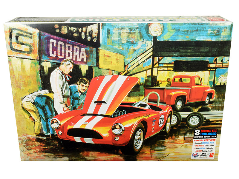Skill 3 Model Kit 1963 Shelby Cobra 1953 Ford F-100 Pickup Truck and Trailer Grand Prix Cobra Racing Team D'Amerique Set of 3 pieces 1/25 Scale Model AMT AMT1073