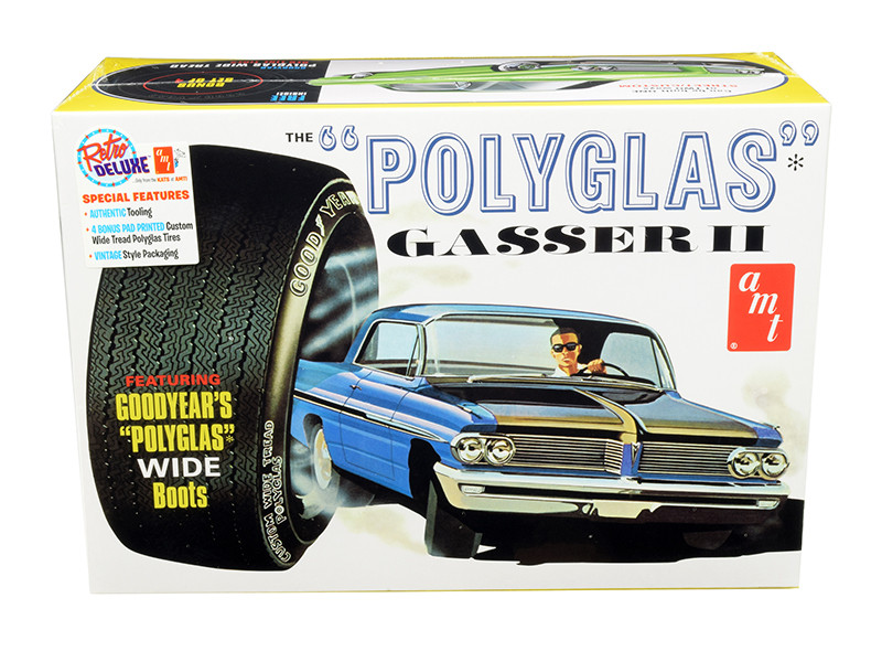 Skill 2 Model Kit 1962 Pontiac Catalina Polyglas Gasser II 2 in 1 Kit 1/25 Scale Model AMT AMT1092
