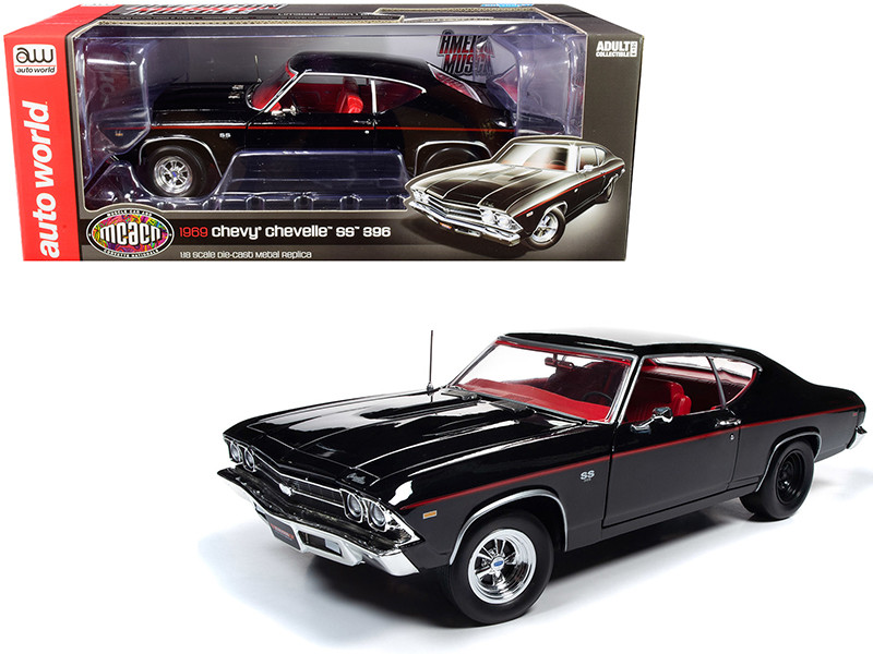 1969 Chevrolet Chevelle SS 396 Tuxedo Black Red Interior Muscle Car & Corvette Nationals MCACN Limited Edition 1002 pieces Worldwide 1/18 Diecast Model Car Autoworld AMM1190