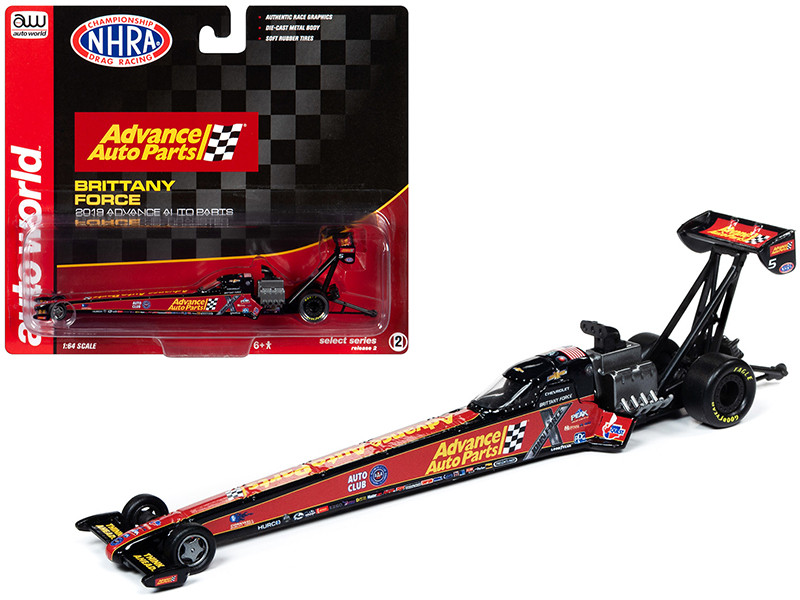 2019 NHRA TFD Top Fuel Dragster Brittany Force Advance Auto Parts 1/64 Diecast Model Car Autoworld AW64006 AWSP025