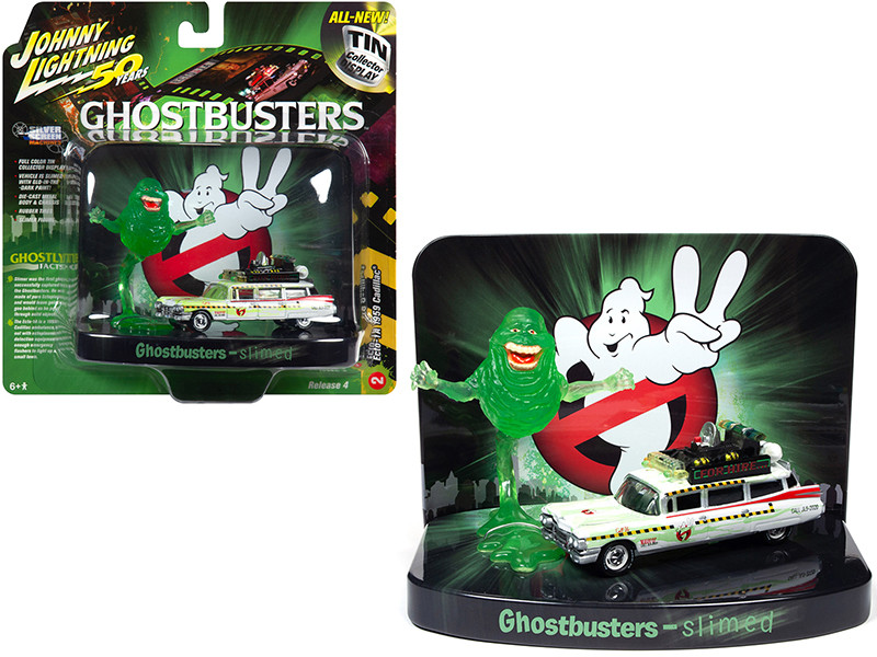 1959 Cadillac Ecto-1A Ambulance Slimed Slimer Figurine Ghostbusters Movie Diorama Johnny Lightning 50th Anniversary 1/64 Diecast Model Car Johnny Lightning JLDR010 JLSP078