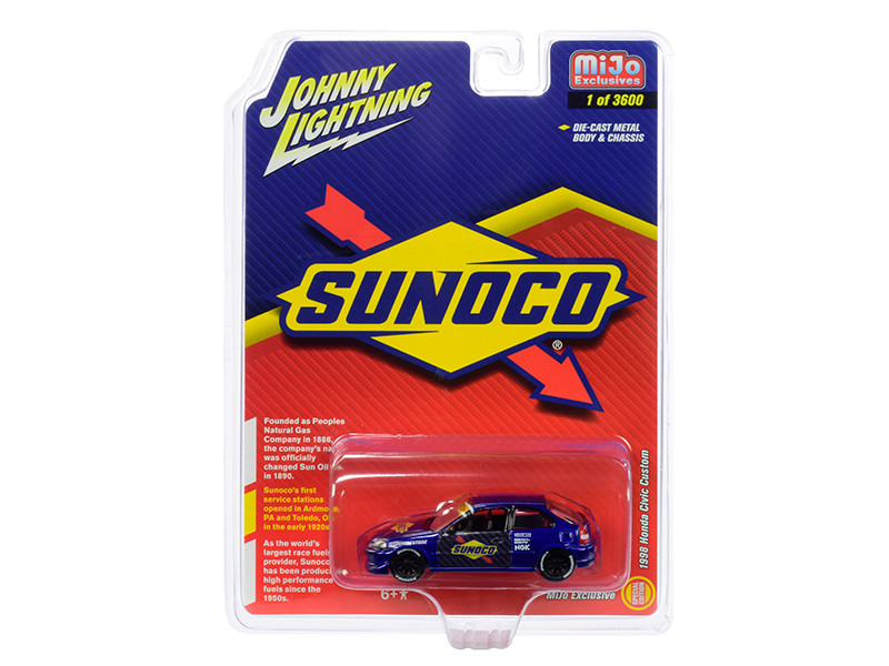 1998 Honda Civic Custom Dark Blue Sunoco Limited Edition 3600 pieces Worldwide 1/64 Diecast Model Car Johnny Lightning JLCP7193
