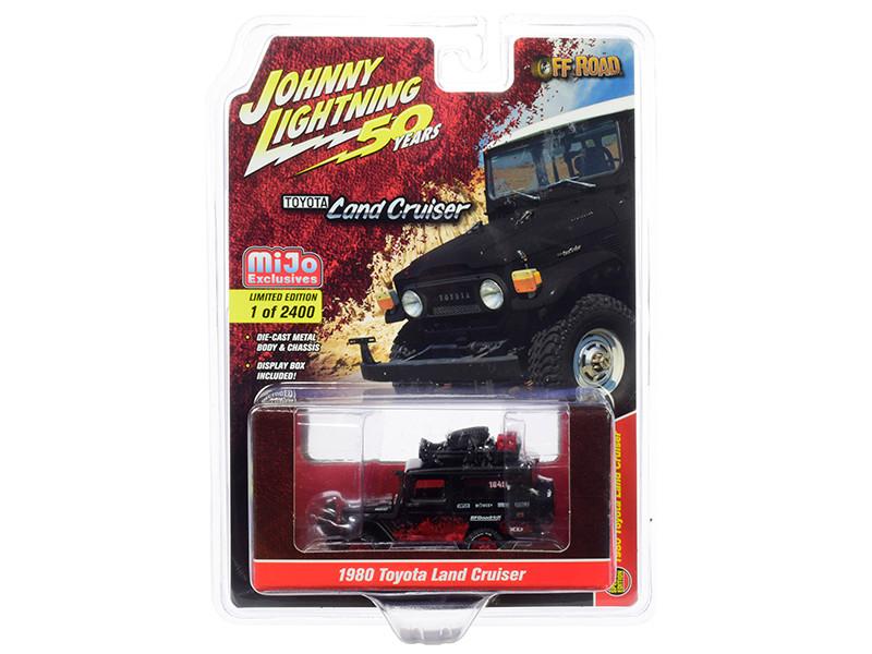 1980 Toyota Land Cruiser Matt Black Red Accessories Off Road Johnny Lightning 50th Anniversary Limited Edition 2400 pieces Worldwide 1/64 Diecast Model Car Johnny Lightning JLCP7236