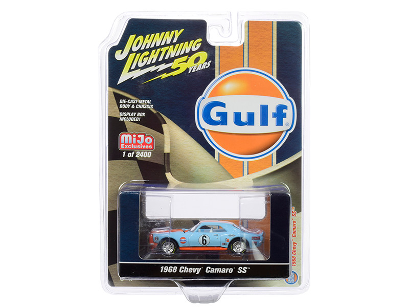 1968 Chevrolet Camaro SS #6 Gulf Oil Light Blue Orange Limited Edition 2400 pieces Worldwide 1/64 Diecast Model Car Johnny Lightning JLCP7240