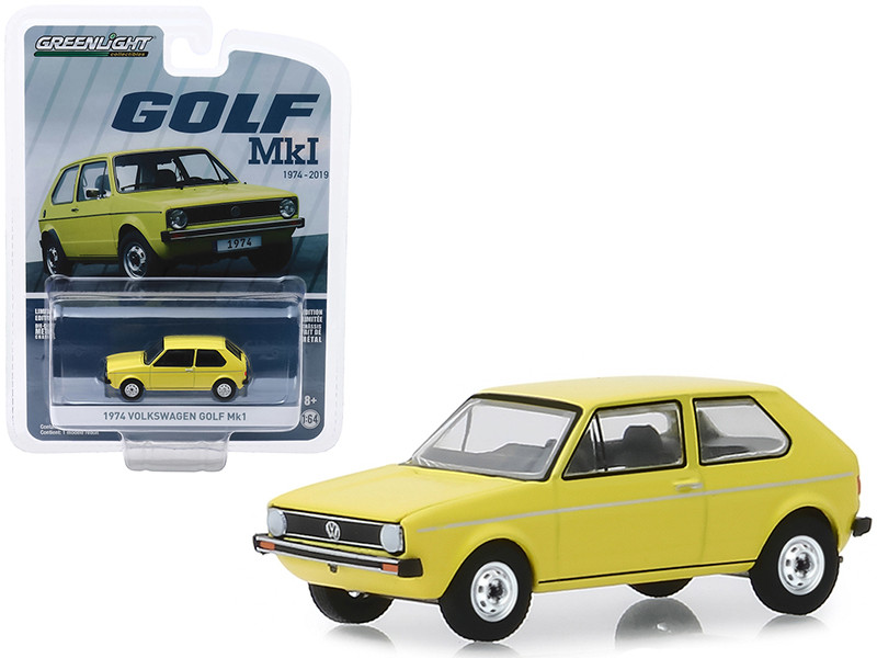 1974 Volkswagen Golf Mk1 Yellow Volkswagen Golf 45th Anniversary 1974 2019 Anniversary Collection Series 9 1/64 Diecast Model Car Greenlight 28000 C