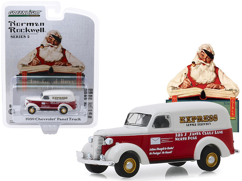 1939 Chevrolet Panel Truck Red White Express Letter Delivery Norman Rockwell Series 2 1/64 Diecast Model Car Greenlight 54020 A