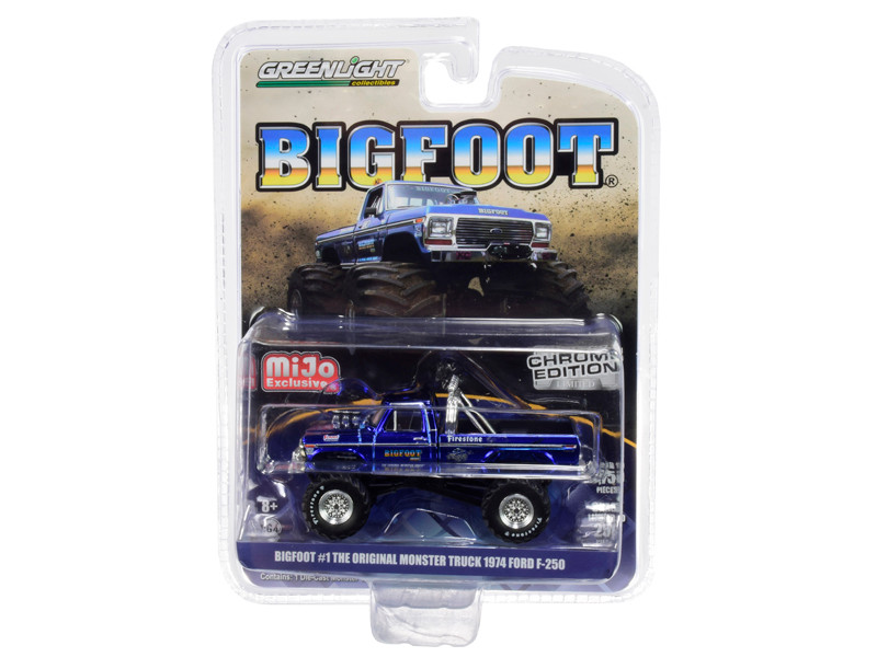 1974 Ford F-250 Bigfoot #1 The Original Monster Truck Chrome Blue Limited Edition 5750 pieces Worldwide 1/64 Diecast Model Car Greenlight 51281
