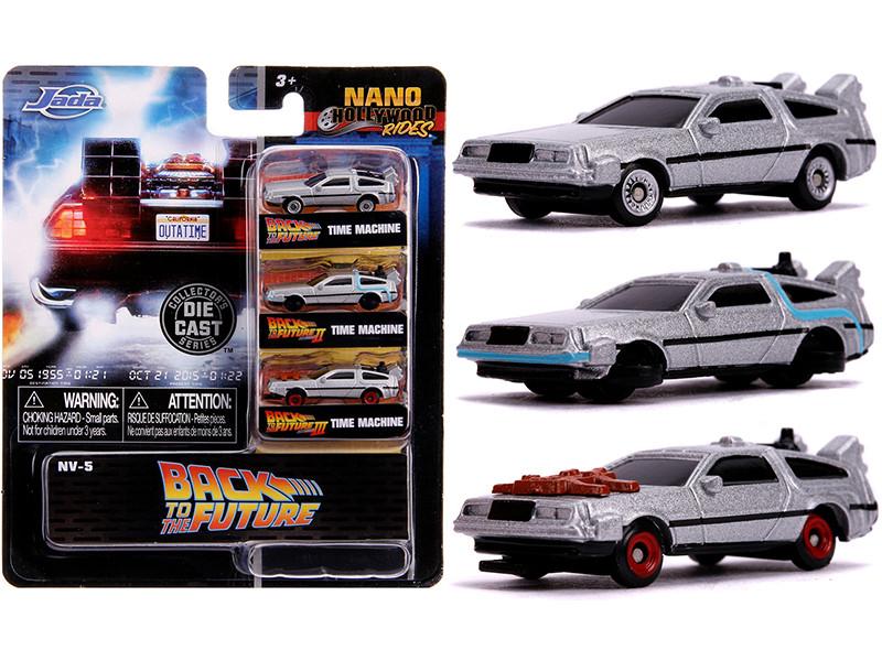 Back to the Future Time Machine 3 piece Set Nano Hollywood Rides Diecast Model Cars Jada 31583
