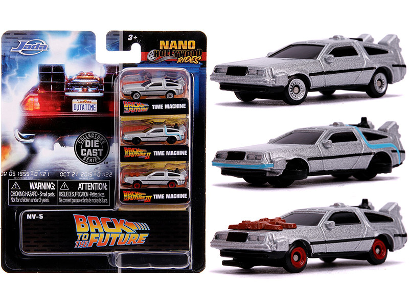Back to the Future Time Machine 3 piece Set Nano Hollywood Rides Diecast Model Cars Jada 31583