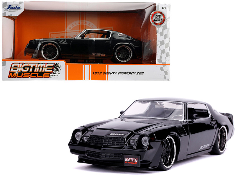 1979 Chevrolet Camaro Z28 Glossy Black Bigtime Muscle 1/24 Diecast Model Car Jada 31584