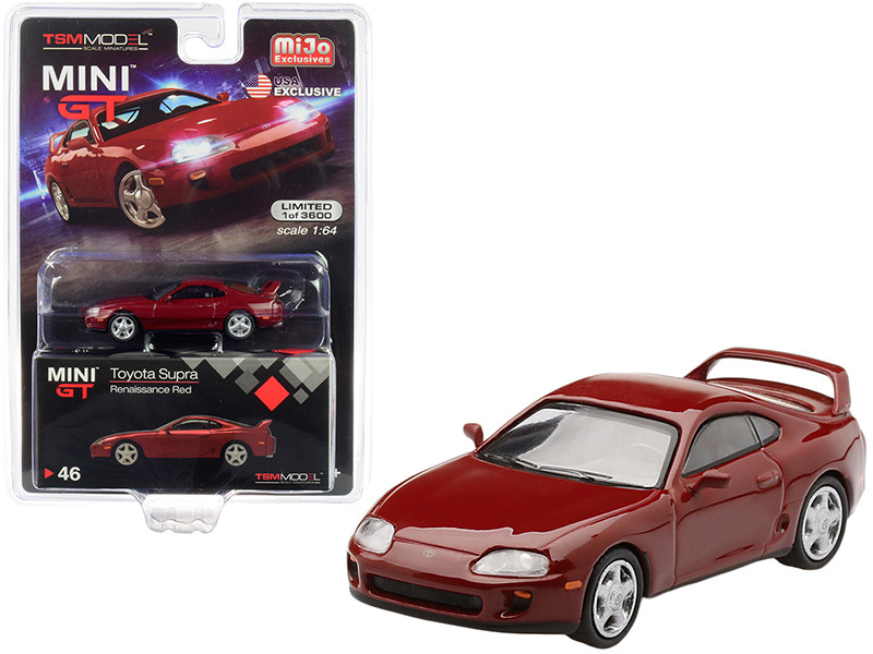 Toyota Supra JZA80 LHD Left Hand Drive Renaissance Red Limited Edition 3600 pieces Worldwide 1/64 Diecast Model Car True Scale Miniatures MGT00046