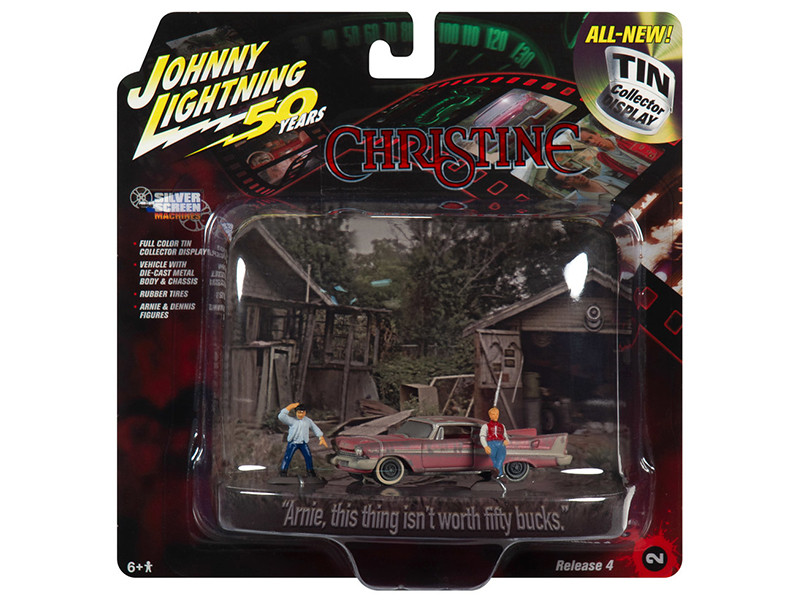 1958 Plymouth Fury Dirty Version Arnie Dennis Figures Christine 1983 Movie Diorama Johnny Lightning 50th Anniversary 1/64 Diecast Model Car Johnny Lightning JLDR010 JLSP079